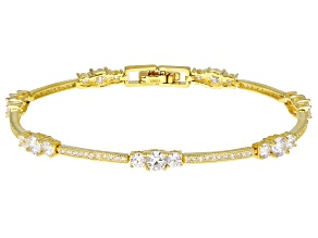 Pre-Owned White Cubic Zirconia 14k Yellow Gold Over Sterling Silver Bracelet 6.40ctw