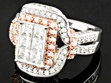 Pre-Owned Cubic Zirconia Silver And 18k Rose Gold Over Silver Ring 3.35ctw