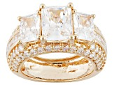 Pre-Owned White Cubic Zirconia 18k Yellow Gold Over Silver Ring 10.96ctw