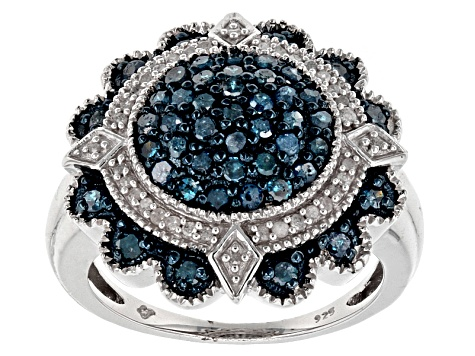 Pre-Owned Blue And White Diamond Rhodium Over Sterling Silver Ring 1.00ctw