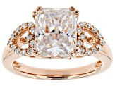 Pre-Owned Moissanite 14k Rose Gold Over Silver Ring 4.14ctw DEW