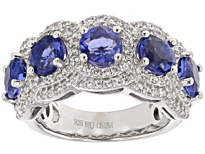 Pre-Owned Color Change Blue Fluorite And White Zircon Sterling Silver Ring. 3.72ctw