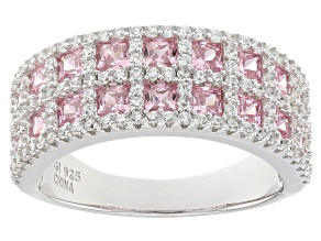 Pre-Owned Pink And White Cubic Zirconia Rhodium Over Sterling Silver Ring 2.60ctw