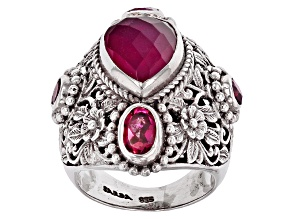 Pre-Owned Red Fuchsia Quartz Doublet Silver Ring 2.18ctw