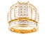 Pre-Owned Cubic Zirconia 18k Yellow Gold Over Sterling Silver Ring With Bands 8.42ctw