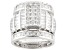 Pre-Owned Cubic Zirconia Sterling Silver Ring With Bands 8.42ctw