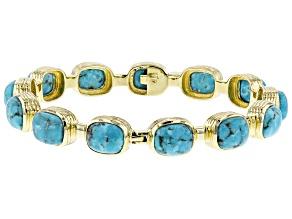 Pre-Owned Turquoise Kingman 18k Gold Over Silver Bracelet