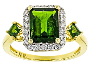 Pre-Owned Green Chrome Diopside 18k Gold Over Silver Ring 3.25ctw