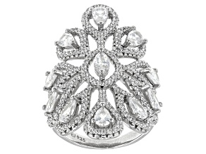 Pre-Owned White Cubic Zirconia Rhodium Over Sterling Silver Ring 3.20ctw