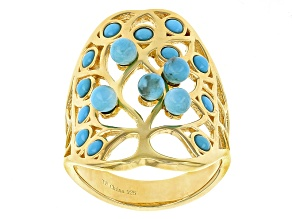Pre-Owned Turquoise 18k Yellow Gold Over Sterling Silver Ring