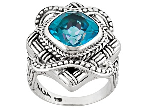 Pre-Owned Blue Flora™ Mystic Quartz® Silver Ring 5.20ctw