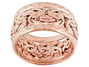 Pre-Owned 10k Rose Gold Hollow Byzantine Link Band Ring