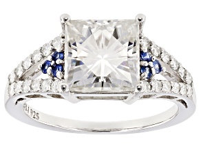Pre-Owned Moissanite Fire® 3.34ctw DEW And .11ctw Blue Sapphire Platineve™ Ring