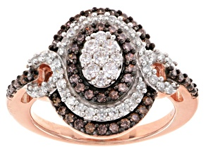 Pre-Owned Brown And White Cubic Zirconia 18k Rose Gold Over Silver Ring 1.37ctw