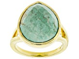 Pre-Owned Turquoise Kingman 18k Gold Over Silver Ring