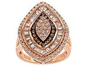 Pre-Owned Brown And White Cubic Zirconia 18k Rose Gold Over Silver Ring 1.99ctw