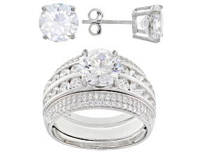 Pre-Owned White Cubic Zirconia Rhodium Over Sterling Silver Ring With Guard and Earrings 12.60ctw