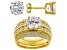 Pre-Owned White Cubic Zirconia 18k Yellow Gold Over Sterling Silver Ring With Guard and Earrings 12.
