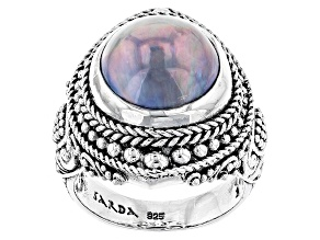 Pre-Owned Peacock Grey Cultured Mabe Pearl Sterling Silver Ring
