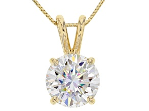 Pre-Owned Moissanite Fire® 2.20ct DEW Round 14k Yellow Gold Pendant With 18 inch Baby Box Chain
