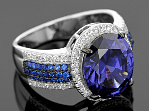 Pre-Owned Blue And White Cubic Zirconia Rhodium Over Silver Ring 7.92ctw