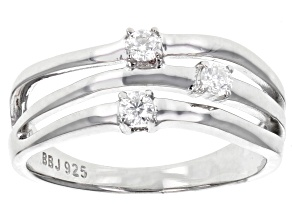 Pre-Owned Moissanite Fire® .18ctw Diamond Equivalent Weight Round Platineve™ Ring