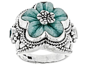 Pre-Owned Blue Quartzite Silver Flower Ring 0.60ctw