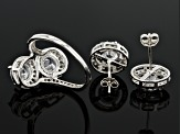 Pre-Owned Cubic Zirconia Rhodium Over Sterling Silver Ring And Earrings Set 3.26ctw
