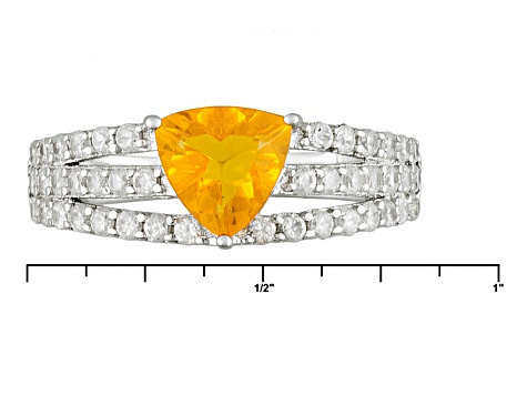 Pre-Owned Orange Mexican Fire Opal And White Zircon Sterling Silver Ring 1.41ctw