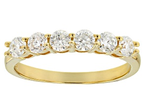 Pre-Owned Womens Band Ring Moissanite .96ctw Round 14k Yellow Gold Over Silver