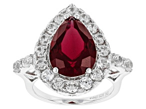 Pre-Owned Red Lab Created Ruby Sterling Silver Ring 6.63ctw