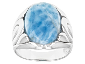 Pre-Owned Blue Larimar Sterling Silver Solitaire Ring.