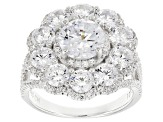 Pre-Owned White Cubic Zirconia Rhodium Over Sterling Silver Ring 7.31ctw