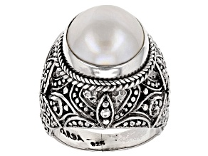 Pre-Owned White Cultured Mabe Pearl Silver Ring