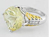 Pre-Owned Yellow Labradorite Two-Tone Sterling Silver Ring 8.47ctw