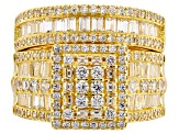 Pre-Owned White Cubic Zirconia 18k Yellow Gold Over Sterling Silver Ring With Band 4.32ctw