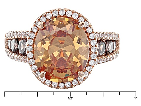 Pre-Owned White Brown And Mocha Cubic Zirconia 18k Rose Gold Over Silver Ring 8.50ctw