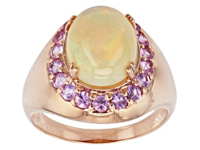 Pre-Owned Ethiopian Opal 10k Rose Gold Ring 2.80ctw