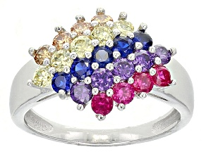 Pre-Owned Red, Purple, Blue, Yellow, Brown Cubic Zirconia Rhodium Over Sterling Silver Ring 2.19ctw