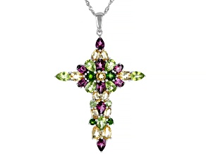 Pre-Owned Multi-Gem Sterling Silver Cross Pendant With Chain 10.01ctw