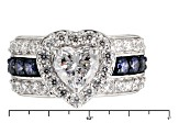 Pre-Owned Blue And White Cubic Zirconia Silver Ring 5.13ctw