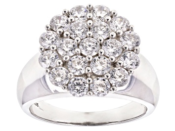 Picture of Pre-Owned White Cubic Zirconia Rhodium Over Sterling Silver Ring 3.80ctw