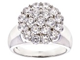 Pre-Owned White Cubic Zirconia Rhodium Over Sterling Silver Ring 3.80ctw