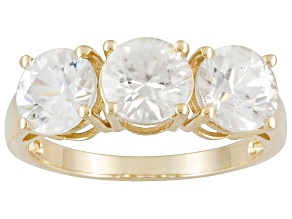 Pre-Owned 4.50ctw Round Faceted White Zircon 10kt Yellow Gold 3-Stone Ring