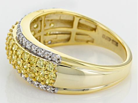 Pre-Owned Swarovski ® Yellow Zirconia & White Cubic Zirconia 18k Yellow Gold Over Silver Ring 1.90ct