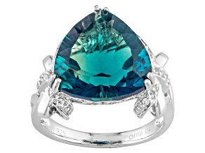 Pre-Owned Teal Fluorite Sterling Silver Ring 7.45ctw