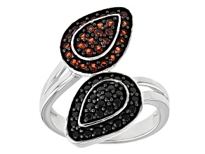 Pre-Owned Red Garnet And Black Spinel Sterling Silver Bypass Ring 1.01ctw