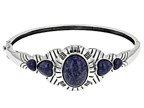 Pre-Owned Blue Lapis Lazuli Sterling Silver Bangle Bracelet