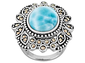 Pre-Owned Blue Larimar And Marcasite Sterling Silver Ring