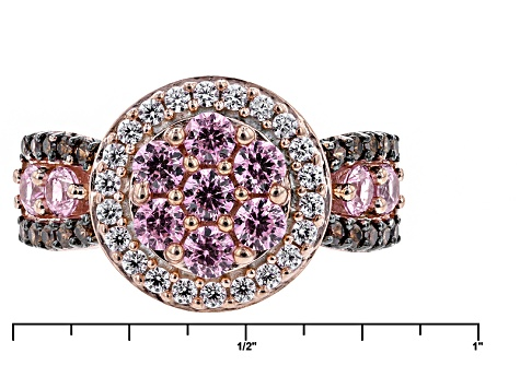 Pre-Owned Pink, Brown And White 18k Rose Gold Over Silver Ring 3.43ctw (1.84ctw DEW)